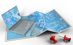 3d computer. 3d illustration of city map with computer and royalty free illustration