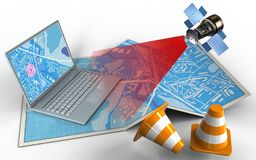 3d computer. 3d illustration of city map with computer and satellite vector illustration