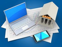 3d computer. 3d illustration of diagram papers and computer over blue background with bank Stock Photography