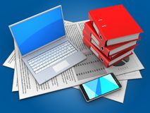 3d computer. 3d illustration of documents and computer over blue background with binder folders Stock Photography