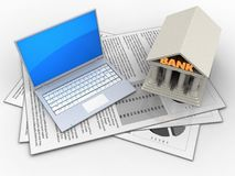 3d computer. 3d illustration of documents and computer over white background with bank Royalty Free Stock Images