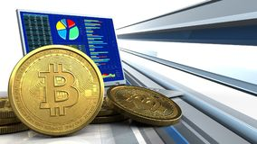 3d of computer. 3d illustration of computer over abstract lines background with bitcoins royalty free illustration