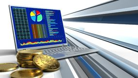 3d of computer. 3d illustration of computer over abstract lines background with golden coins royalty free illustration