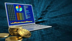 3d of computer. 3d illustration of computer over binary background with golden coins stock illustration