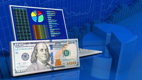 3d of computer. 3d illustration of computer over business charts background with cash vector illustration