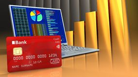 3d of computer. 3d illustration of computer over golden charts background with bank card stock illustration
