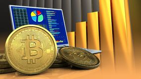 3d of computer. 3d illustration of computer over golden charts background with bitcoins vector illustration