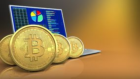 3d of computer. 3d illustration of computer over yellow background with bitcoins row royalty free illustration