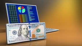 3d of computer. 3d illustration of computer over yellow background with cash royalty free illustration