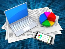 3d computer. 3d illustration of papers and computer over digital background with pie chart royalty free illustration