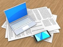 3d computer. 3d illustration of papers and computer over wood background vector illustration