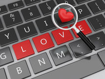 3d Computer keyboard with Love buttons and heart. 3d renderer image. Computer keyboard with Love buttons and red heart. Find Love concept Royalty Free Stock Image