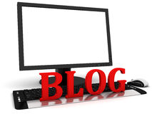 3d Computer monitor with blank white screen and the red word blog Stock Image
