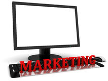 3d Computer monitor with blank white screen and red word marketing Royalty Free Stock Photo