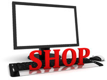 3d Computer monitor with blank white screen and red word shop Stock Photo
