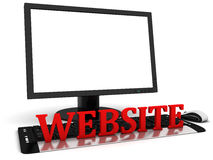 3d Computer monitor with blank white screen and red word website Royalty Free Stock Photo
