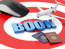 3d computer mouse and airplane. Travel concept. 3d renderer illustration. Online booking concept. Computer mouse and airplane on target Royalty Free Stock Photo