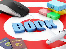 3d computer mouse and airplane. Travel concept. 3d renderer illustration. Online booking concept. Computer mouse and airplane on target Stock Image