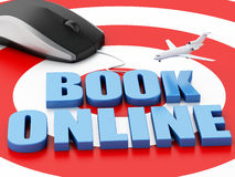 3d computer mouse and airplane. Travel concept. 3d renderer illustration. Online booking concept. Computer mouse and airplane on target Stock Photography