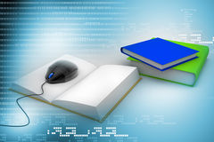 3d Computer mouse and books - e-learning concept Royalty Free Stock Photography