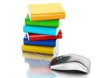 3d Computer mouse and books. Royalty Free Stock Images