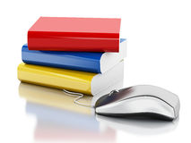 3d Computer mouse and books. Stock Photo