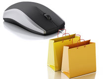 3d computer mouse with shopping bags. E-commerce Stock Photos