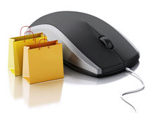 3d computer mouse with shopping bags. E-commerce Stock Photography