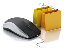 3d computer mouse with shopping bags. E-commerce Royalty Free Stock Photos
