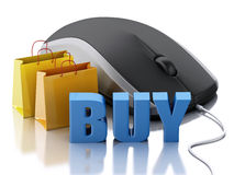 3d computer mouse with shopping bags. E-commerce Royalty Free Stock Images