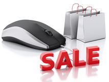 3d computer mouse with shopping bags. E-commerce Royalty Free Stock Image