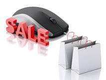 3d computer mouse with shopping bags. E-commerce Royalty Free Stock Photography
