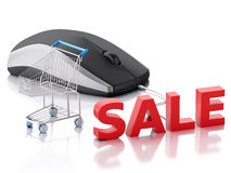 3d computer mouse and shopping cart. E-commerce Royalty Free Stock Image