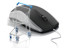 3d computer mouse and shopping cart. E-commerce Stock Photos