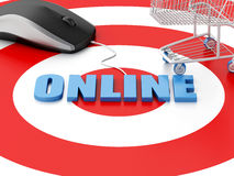 3d computer mouse and Shopping cart on target. E-commerce concep Stock Photography