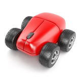 3d Computer mouse with wheels Stock Photos