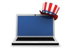 3d: Computer portatile con il cappello patriottico Immagini Stock Libere da Diritti