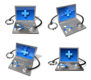 3d computer and stethoscope range four set Royalty Free Stock Photo
