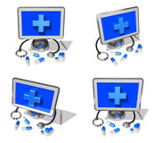 3d computer and stethoscope range four set . 3D Icon Design Seri Stock Photography