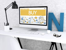 3d Computer with word BUY. 3D illustration. Modern workspace and computer with word BUY. Shop online concept Royalty Free Stock Photography