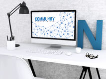 3d Computer with word COMMUNITY. Stock Photography
