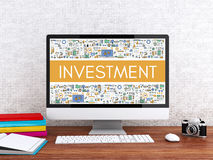 3d Computer with word INVESTMENT. Royalty Free Stock Images