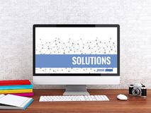 3d Computer with word SOLUTIONS. Stock Photo