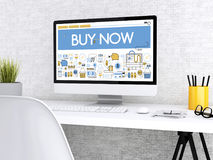 3d Computer with words BUY NOW. 3D illustration. Modern workspace and computer with words BUY NOW. Shop online concept Royalty Free Stock Photo