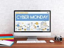 3d Computer with words CYBER MONDAY. 3D illustration. Modern workspace and computer with words CYBER MONDAY. Shop online concept Stock Photo