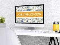 3d Computer with words JOB APPLICATION. 3D illustration. Modern workspace and computer with words JOB APPLICATION. Technology and business concept Royalty Free Stock Photo