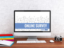 3d Computer with words ONLINE SURVEY. 3D illustration. Modern workspace and computer with words ONLINE SURVEY. Technology and Network concept Royalty Free Stock Photos
