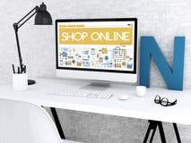 3d Computer with words SHOP ONLINE. 3D illustration. Modern workspace and computer with words SHOP ONLINE. Shop online concept Stock Photography