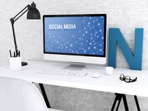3d Computer with words SOCIAL MEDIA. 3D illustration. Modern workspace and computer with words SOCIAL MEDIA. Technology and people online concept Royalty Free Stock Photography