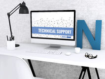 3d Computer with words TECHNICAL SUPPORT. 3D illustration. Modern workspace and computer with words TECHNICAL SUPPORT. Technology and Network concept Stock Photo